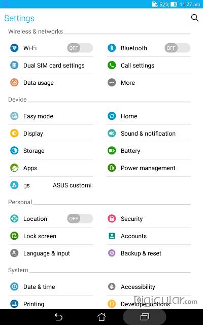 Settings Asus fonepad 7 Android Lollipop