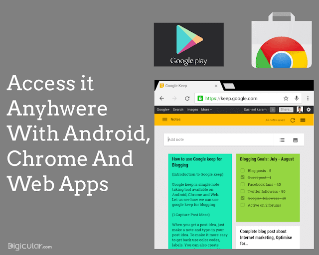 Android, iphone and webapp - Google keep productivity tips