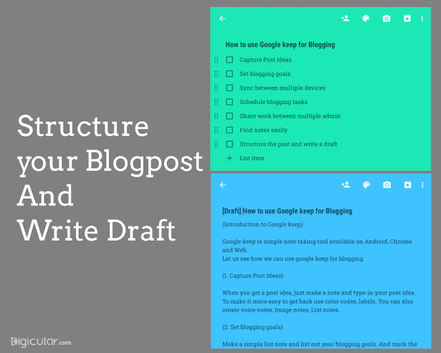 Structure blog post - Google keep productivity tips