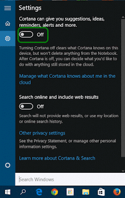 Turn on cortana in start menu windows 10