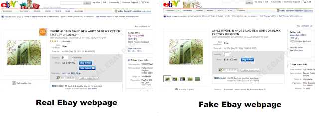 Fake ebay website looks like original