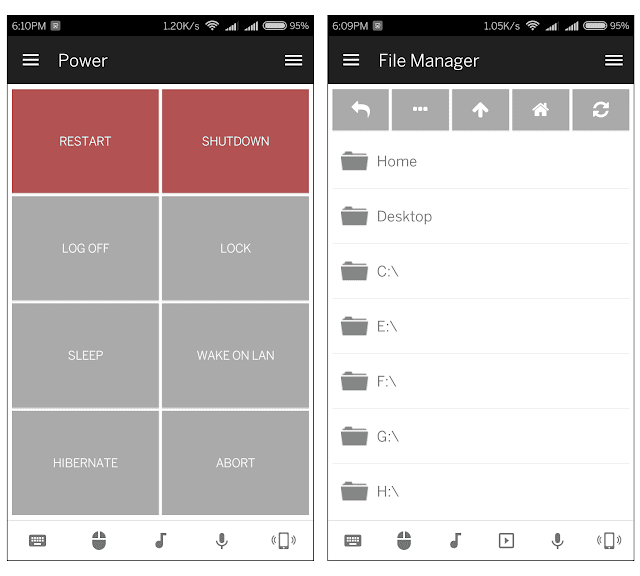 File manager and Power options - Unified remote android