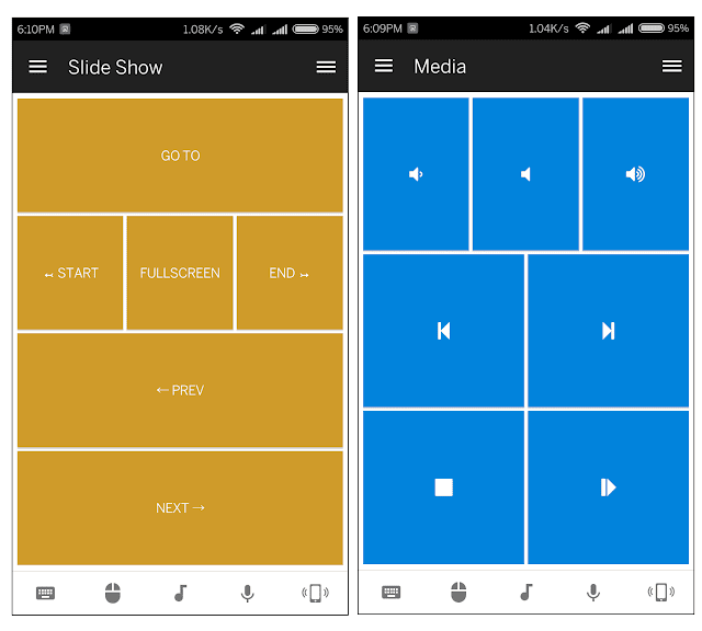 Slideshow and media control - Unified remote android