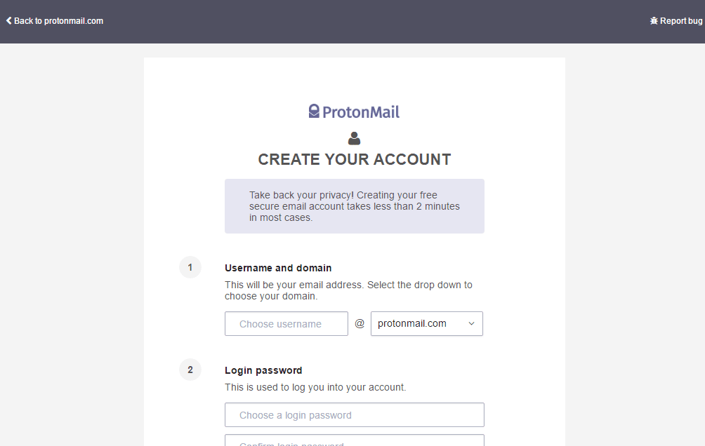 End to end Encrypted email service Protonmail Create account