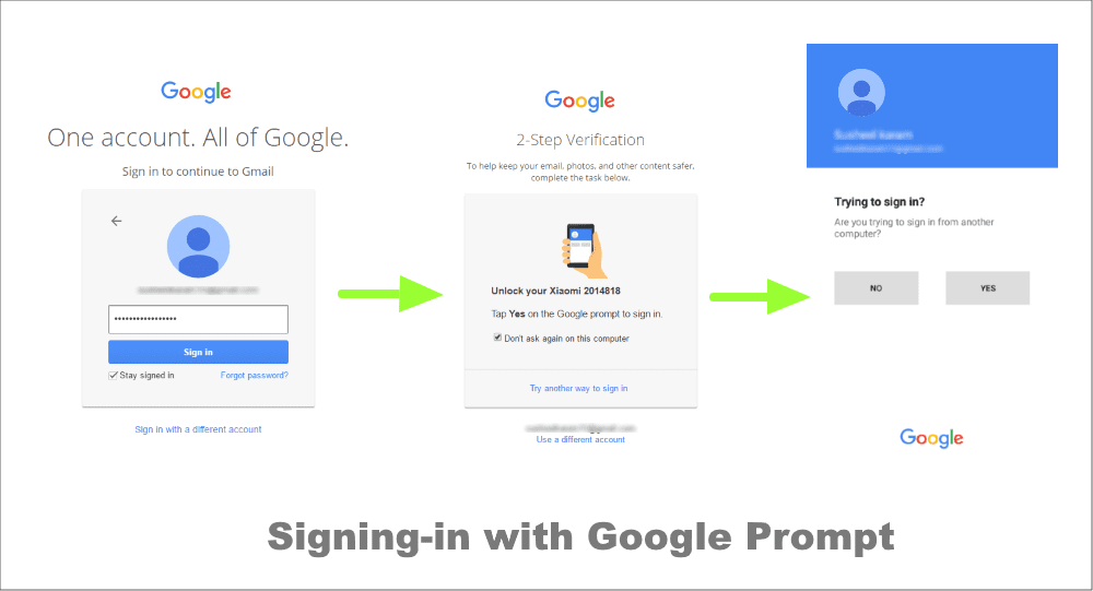 Signing in with Google prompt
