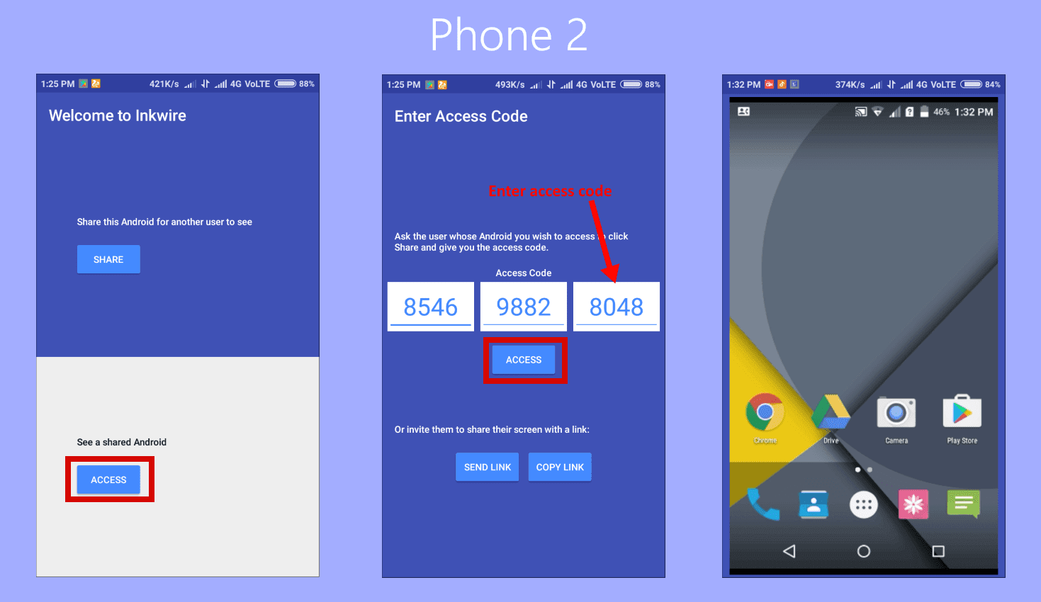 Steps to use Inkwire to share your android screen to other android phone
