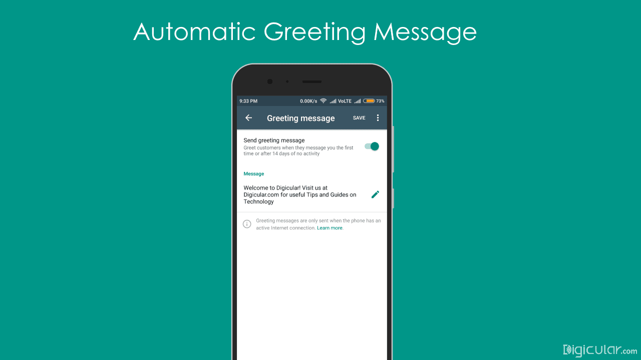 Auto greeting message whatsapp business