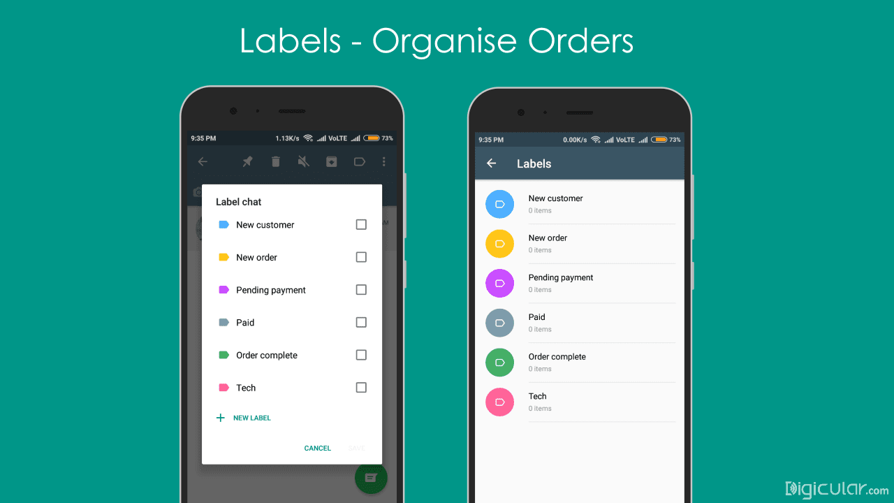 Labels categories whatsapp business