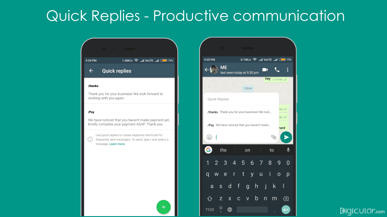 Quick replies whatsapp business app