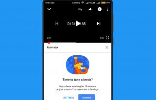 Youtube app Take a break reminderfeature