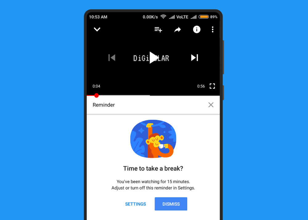 Youtube app Take a break reminderfeature
