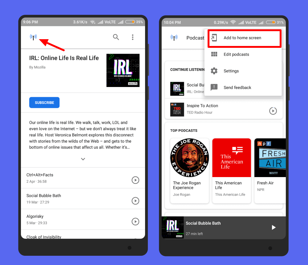 add shortcut to homescreen google podcast manager