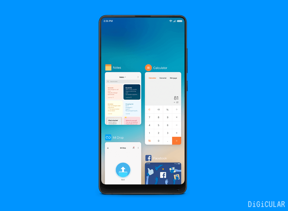 Recent apps screen MIUI 10 features