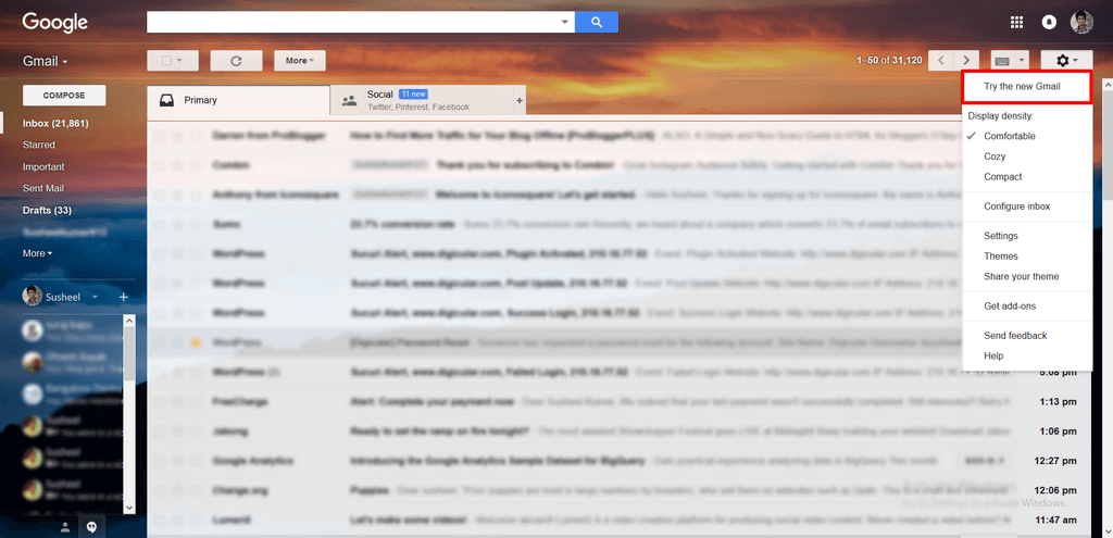 Enable New Gmail interface Enable Smart Compose feature