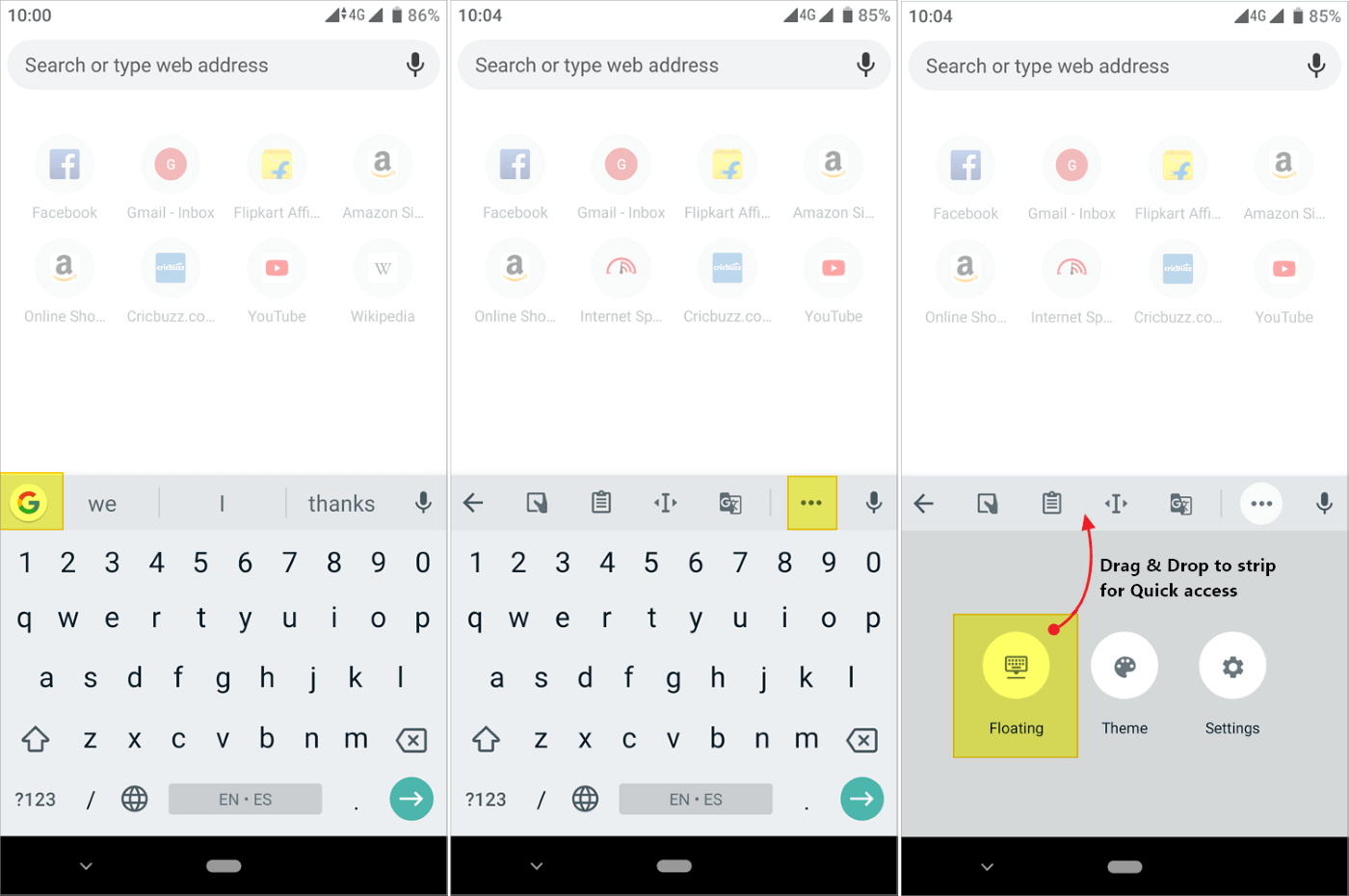 Step to enable and add to quick access strip Gboard floating keyboard