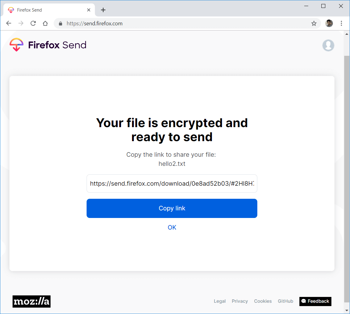 Firefox Send files uploaded Copy link generated - Digicular