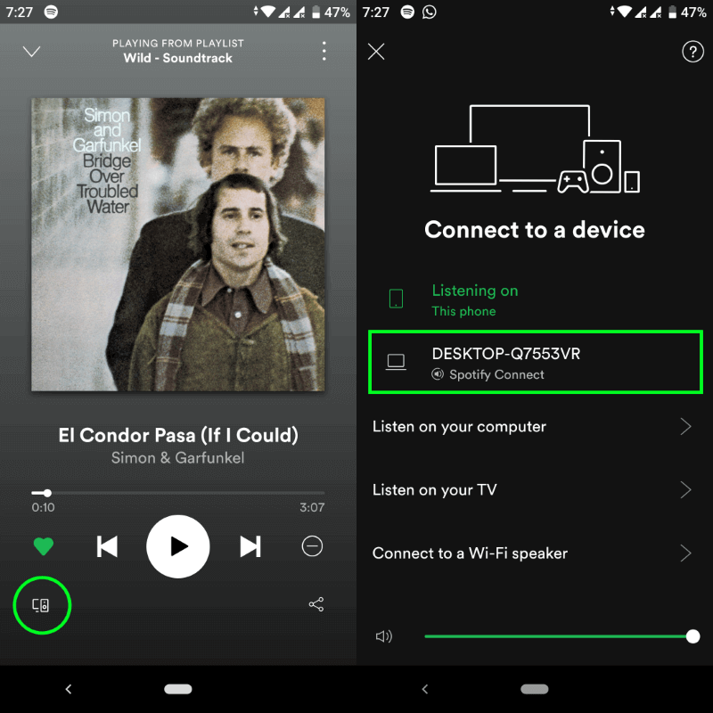 Spotify connect Switch Control Music playback in Phone PC Smart Devices
