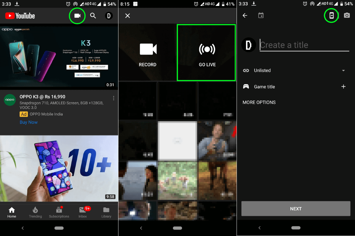Live Streaming Phone Screen on Youtube app Native support