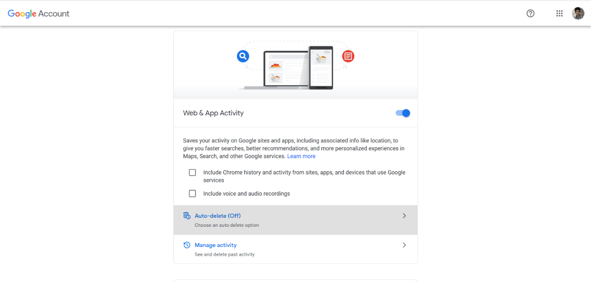 Google account activity controls